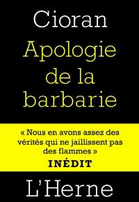 Apologie de la barbarie_Cioran